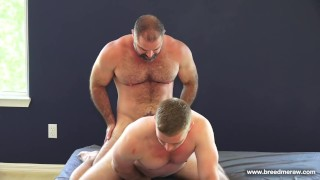 Hairy muscle daddy fucks a stocky college jock