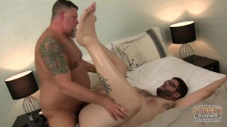 stocky dudes cub takes daddys double load
