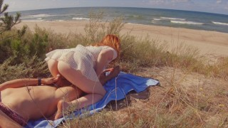 INTERRUPTED SEX on PUBLIC BEACH   Risky Outdoor Creampie Hairy Ginger Pussy